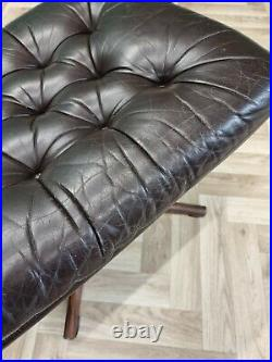 Mid Century Retro Vintage Danish Black Leather Swivel Foot Stool Ottoman 1970s