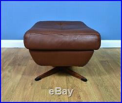 Mid Century Retro Vintage Danish Brown Leather Swivel Foot Stool Ottoman 1970s