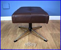 Mid Century Retro Vintage Danish Brown Leather Swivel Foot Stool Ottoman 60s 70s