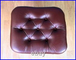 Mid Century Retro Vintage Danish Maroon Leather Swivel Foot Stool Ottoman 1960s