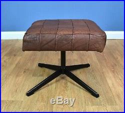 Mid Century Retro Vintage Danish Swivel Brown Leather Foot Stool Ottoman 1970s