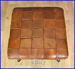 Mid Century Retro Vintage Danish Swivel Tan Leather Foot Stool Ottoman 1970s