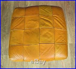 Mid Century Retro Vintage Danish Tan Leather Swivel Foot Stool Ottoman 60s 70s