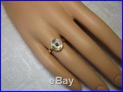 Mid-Century Sapphire Ring 14K Gold Retro Vintage Modern Wedding Engagement