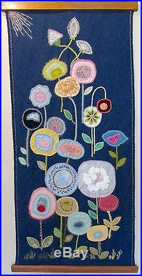 Mid Century Scandinavian Style Fiber Art Floral Wall Hanging by Helen Edwards