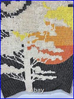 Mid Century Sunset Latch Hook Rug 24 X 32 Wall Hanging Boho VTG Hippy 70s Shag