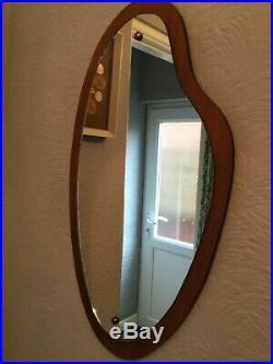 Mid Century Vintage Danish Inspired Teak Wall Mirror #5631