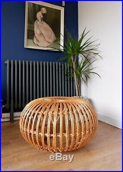 Mid Century Vintage Retro 1950s Bamboo Rattan Franco Albini Ottoman Lobster Pot