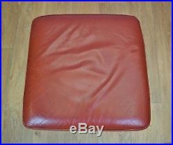 Mid Century Vintage Retro Danish Red Leather Swivel Foot Stool Ottoman 1960s 70s
