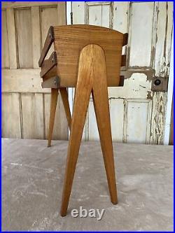 Mid Century Vintage Solid Teak Slatted Plant Pot Stand Indoor Planter MCM