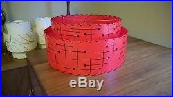 Mid Century Vintage Style 2 Tier Fiberglass Lamp Shade Modern Retro Red Atomic