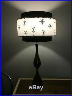 Mid Century Vintage Style 3 Tier Fiberglass Lamp Shade Modern Atomic Retro b/w