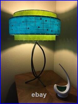 Mid Century Vintage Style 3 Tier Fiberglass Lamp Shade Retro Atomic Turquoise