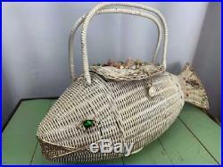 Mid Century Wicker Fish Handbag Labeled batty bags by b. B Rare Vintage Retro