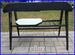Mid-Century telephone table gossip bench boho retro black aqua vintage atomic