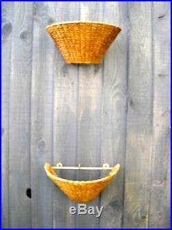 Mid Century vintage retro wicker woven wall sconce lamp, beach coastal, rustic