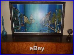 Mid century Acrylic abstract street cityscape townsquare painting retro vintage