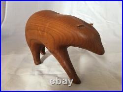 Mid-century Danish Modern Teak Polar Bear Wood Carving Tjomsland Bojesen Vitalli
