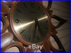 Mid century Syroco starburst sunburst wall clock new mechanism retro vintage