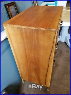 Mid century Vintage light Oak Chest Of Drawers Art Deco Retro five drawers