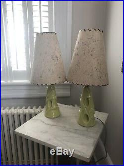 Mid century modern table lamp pair, Green