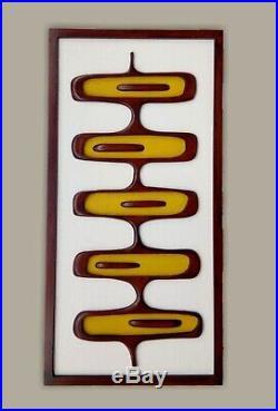 Mid-century modern wall art Handcarved wood wall sculpture 1960s design