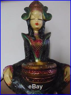 Mid century oriental woman Tretchnikoff lamp chalk ware 60s vintage retro