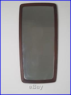 Mid century teak Danish wall hung mirror wider at the top retro vintage 60s home
