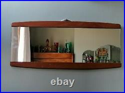 Mid century teak danish framed wall mirror landscape or portrait retro vintage