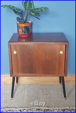 Mid century teak dansette legs record cabinet unit storage retro vintage lps