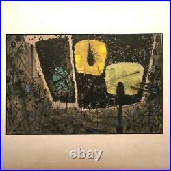 Mid-century vintage Abstract watercolour and ink painting 1950s. Retro