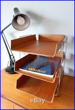 Mid century vintage retro 1960s Mallod teak ply letter desk tray Scandi style