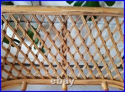 Midcentury bamboo sofa, vintage rattan chair, bohemian tiki, retro cane seat