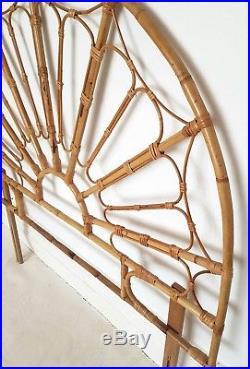 Midcentury cane & bamboo double headboard, bohemian, vintage rattan, Tiki, retro