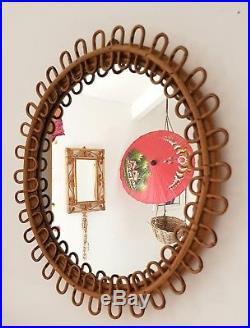Midcentury cane & bamboo wall mirror, bohemian home, vintage rattan, Tiki, retro