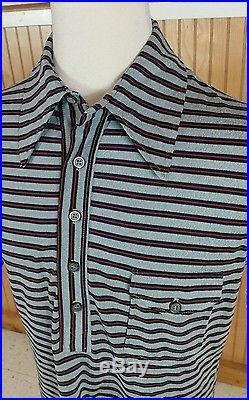 Mint Vtg NOS Deadstock Surf Stripe Retro Mod Atomic Polo Shirt L Mid Century Men