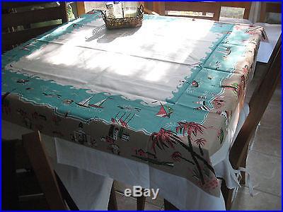 Moda Retro Style Tablecloth 52 X 52 Lifeu0027s A Beach Mid Century Vintage Look
