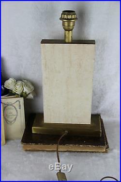 Modernist french vintage 1960 retro Travertin table lamp mid-century