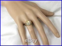 Moonstone Ring 14K Yellow Gold Vintage Estate Mid Century Retro Period Jewelry