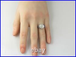 Moonstone Ring Blue Sapphire 14K White Gold Retro Estate Vintage Mid Century