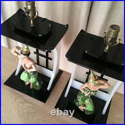 Moss lamp pair shades DeLee Art Asian dancer mid century California pottery 50s
