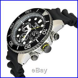 New SEIKO solar chronograph divers watch SSC021P1 Black Dial Rubber with tag box