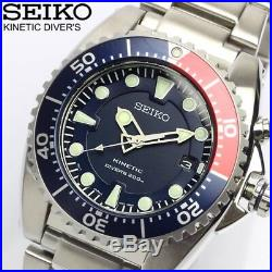 New Seiko Prospex Divers Kinetic Mens SKA759P1 Red Blue pepsi Dial color watch