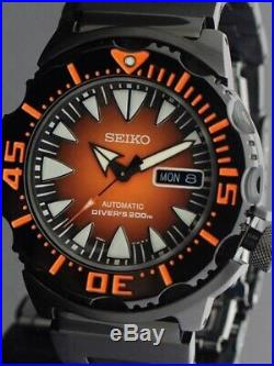 New Seiko SRP311 Mens Watch 2nd Generation Blk Orange Monster Stainless Steel