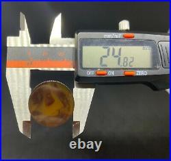 Old Amber Bakelite Veined Rare Honey Rod Prayer Bead simichrom test 24.8 mm 168g