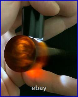Old Amber Bakelite Veined Rare Honey Rod Prayer Bead simichrom test 25.6 mm 164g