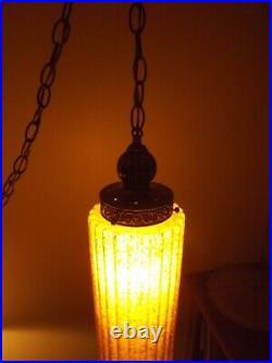 Orange Pleated Swag Lamp Mid Century Hollywood Regency 1950s MCM Pendant Vintage
