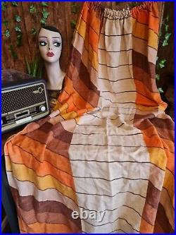 Original Vintage Retro Mid Century Pair of Curtains 70's Fabric Crafts 120 x 150
