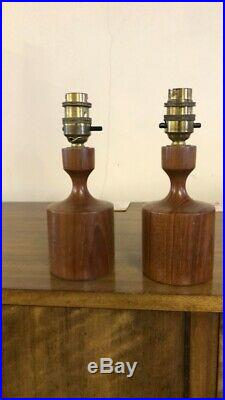 Original vintage mid century solid teak Danish Matching Table Lamps