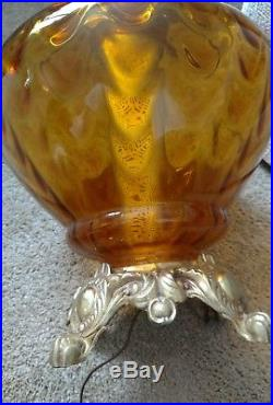 PAIR VINTAGE MID-CENTURY RETRO Amber Glass 1972 EF&EF INDUSTRIES LAMPS+Shades
